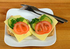 Ready breakfast sandwiches on the table background Royalty Free Stock Image