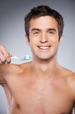 Ready for brushing teeth. Stock Photos
