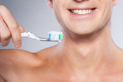 Ready for brushing teeth. Stock Photo