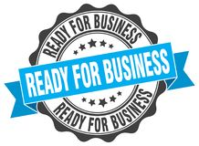 Ready for business seal. Ready for business round ribbon seal isolated on white background Stock Photos