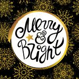 Ink hand drawn background with Merry and bright lettering on the golden snowflakes seamless pattern. Ready for cards, posters, other prints etc Royalty Free Stock Photos