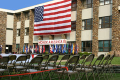 Ready for celebration. The stage is set for a 4th of July event royalty free stock image