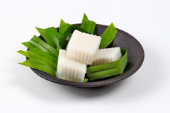 Ready coconut milk jelly in banana leaf  served . Royalty Free Stock Images