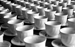 Ready for Coffee Break. Empty white cups awaiting for a coffee break from the seminar or workshop or a meeting Stock Photography