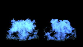 The blue fire flares up and fades away, with alpha mask stock video footage