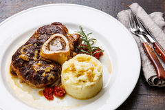 Ready-cooked Osso buco Veal shank with mashed potatoes Royalty Free Stock Photography