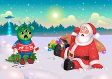 Santa and Alien, Happy New Year, postcard, vector. Ready creative and funny illustration for the postcard Merry Christmas and Happy New Year. Santa Claus met an stock illustration