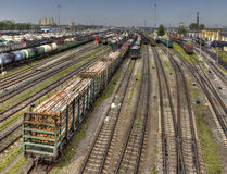Ready for delivery freight wagons Classification yard of Russian Stock Image