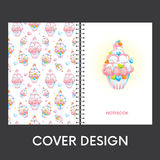 Ready design covers for notebooks with beautiful pastries. Background of cakes. Vector illustration. Royalty Free Stock Photography