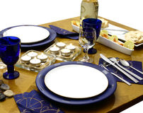 Ready for a dinner. Wooden table with everything ready for occasional dinner (perspective view Royalty Free Stock Photo