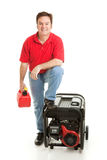 Ready for Disaster. Man with his gas can and portable electric generator, ready for disaster.  Isolated on white Stock Photo