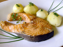 Ready for eating. Baked salmon Stock Photography