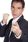 Ready for fight. Man pointing with finger at camera and ready to fight Royalty Free Stock Images