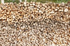 Ready firewood. Various kinds of wooden logs stacked on top of each other. Stack of wood, firewood, background. Royalty Free Stock Photo