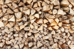 Ready firewood. Various kinds of wooden logs stacked on top of each other. Stack of wood, firewood, background. Royalty Free Stock Images