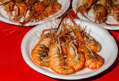 Ready food in the market in Thailand - boiled shrimps Stock Photo