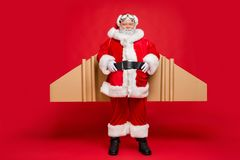 Free Ready For Flight. Full Length Photo Of Cool Charming Santa Claus With Airplane Cardboard Imagine Wings Wear Fairy Stock Image - 158317131