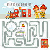 Ready game concept about finding right way for fire engine. Game for kids preschool education about finding right way for fire engine.Labyrinth game.Ready game Royalty Free Stock Photography