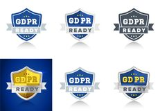 Ready for GDPR General Data Protection Regulation in EU - set of badges for internet business Royalty Free Stock Images