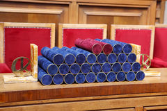 Ready graduation diplomas on the table Royalty Free Stock Photos
