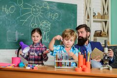 Ready for his final exam. Science and education. chemistry lab. back to school. happy children teacher. Laboratory stock photo