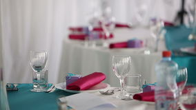 Ready for the holiday banquet hall beautiful restaurant stock video footage