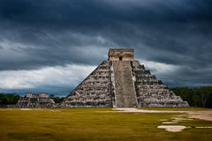 Ready for human sacrifice. Anicent mayan pyramid in Chichen-Itza, Mexico Royalty Free Stock Image