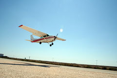 Ready for landing. Cessna 172 taxing before landing (4X = Israeli registration Stock Photos