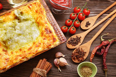 Ready lasagna and its ingradent Stock Photo