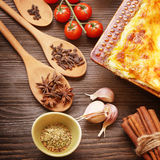 Ready lasagna and its ingradent Royalty Free Stock Images