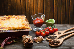 Ready lasagna and its ingradent Stock Image