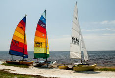 Ready for Launch. Hobie Cats await launch on Floridas gulf coast royalty free stock images