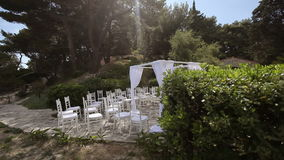 Ready location for the wedding ceremony on the island. Fly shot.  stock footage