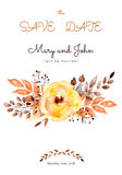 Ready-made beautiful wedding card of yellow flowers and leaves. Watercolor postcard with beautiful bouquet and text.Can be used as a greeting card, invitation Royalty Free Stock Image