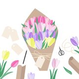 Ready-made bouquet and items for its manufacture. Vector top vie. W. Flat lay of florist workplace Royalty Free Stock Photography