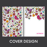 Ready-made cover design for a notebook or notebook. Multicolored birds and insects. Flowers and plants. Anniversary drawing. Vecto Stock Photos