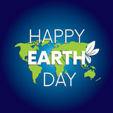 Ready-made design for the `Happy Earth Day` card. Celebration. Vector illustration. Planet and nature. World map. April 22. Ready-made design for the `Happy Royalty Free Stock Photo