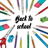 Ready-made design of postcard or poster `Back to school`. Vector illustration with pencils, pens. Multicolored stationery.  royalty free illustration