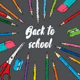 Ready-made design of postcard or poster `Back to school`. Vector illustration with pencils, pens. Multicolored stationery.  vector illustration