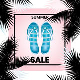 Ready-made design `Sale` with palm branches and flip flops. Vector illustration for shops. Business and shopping. Summer. Royalty Free Stock Photo