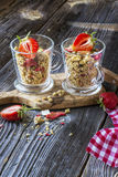 Ready-made granola with dried strawberries and almonds. Healthy breakfast  cereal muesli,   fresh Stock Image