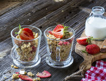 Ready-made granola with dried strawberries and almonds. Healthy breakfast  cereal muesli,   fresh Royalty Free Stock Photography