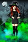 Pretty smiling witch set in a scene with a full moon, bats and t stock illustration