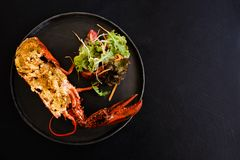 Ready made stuffed lobster restaurant dish Royalty Free Stock Images