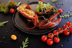 Ready made stuffed lobster restaurant dish Stock Photography
