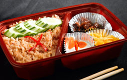 Ready Made Thai Food Style In The Bento Rice Box Royalty Free Stock Image