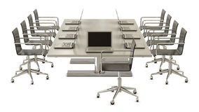 Ready for meeting, table with chairs and laptops Royalty Free Stock Photo