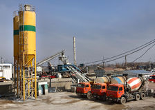 Ready Mix Concrete Batching Plant, Truck mixer. Royalty Free Stock Images