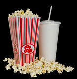Ready for the Movie. Got the snack all ready for the movie - popcorn and pop Royalty Free Stock Images