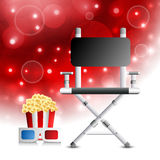 Ready for movie. Vector illustration of director's chair, pop corn and 3d glasses stock illustration